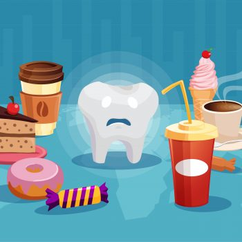 infographic showing sad tooth surrounded by sugary products
