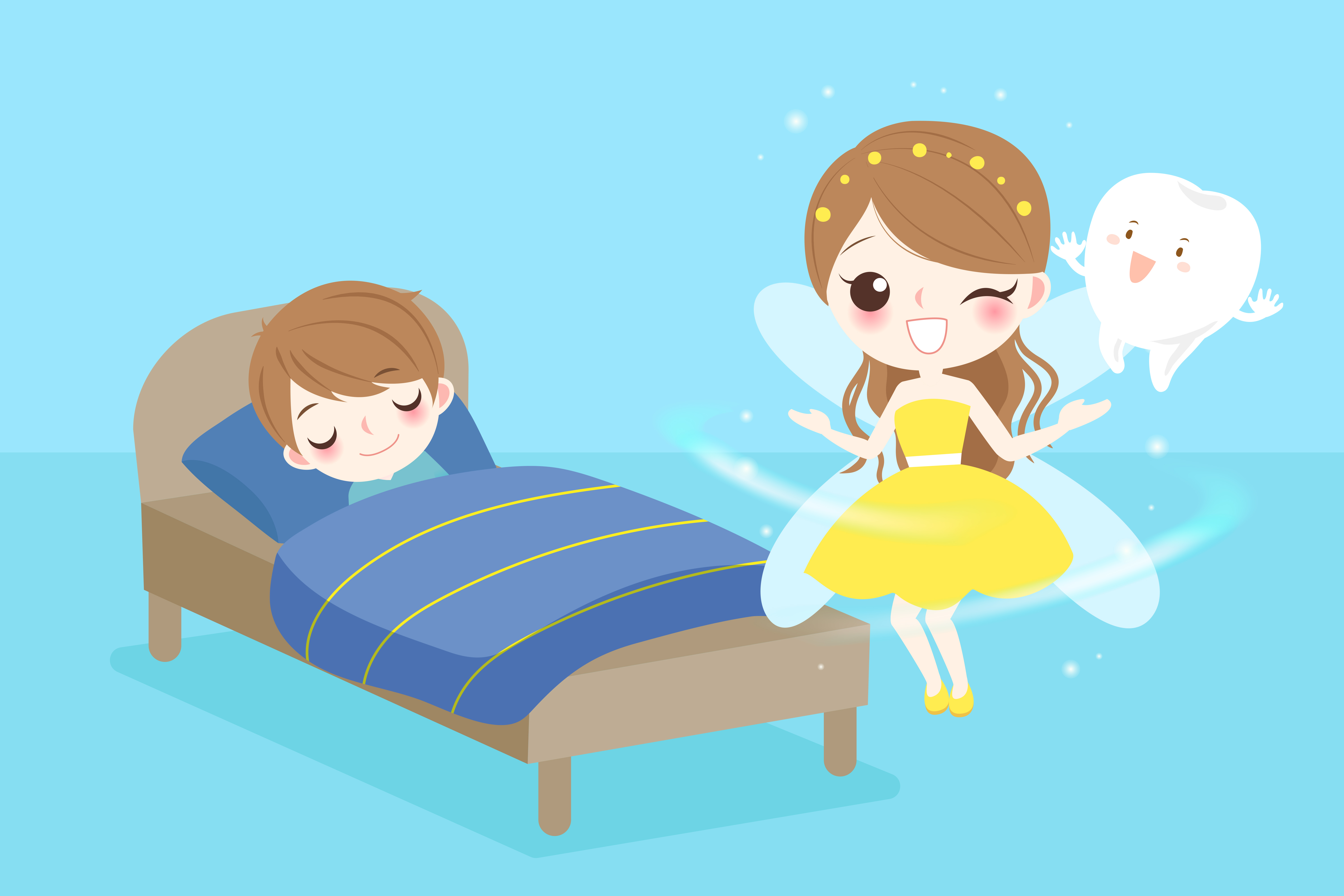 illustration of the tooth fairy coming to a little boy sleeping